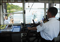 Capt. Ray Richmond pilots the Mark Twain Mississippi Riverboat on daily excursions from Hannibal.